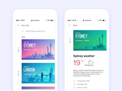 Trip App - Your Trips History details ui trip travel slider london sydney party history mobile list hangout