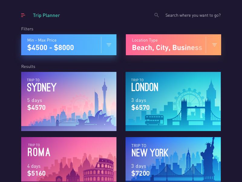 Trips App - Trip Planner by Sourav Maity ℠ on Dribbble