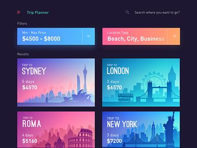 Trips App - Trip Planner trip planner ui trip travel sydney color party mobile london list history hangout