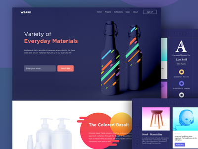 Landing Page - Materials container stool branding bottles materials webpage website landing page