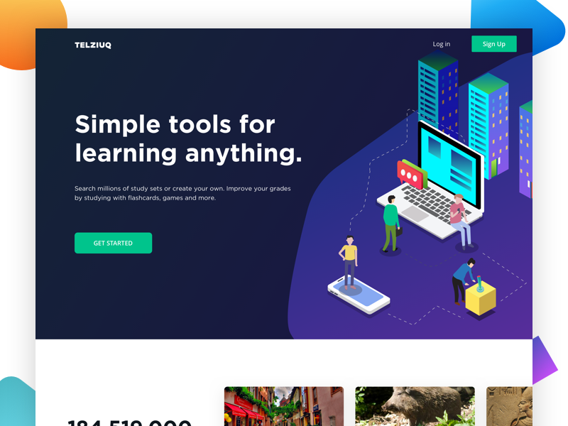 Telziuq - Landing page knowledge share web page landing page teacher student education isometric desktop subject learning tools 3d