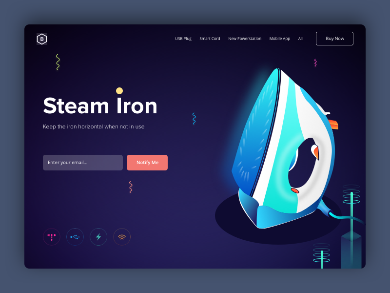 Steam Iron - Powerstation Landing Page steam iron landing page buy now phone isometric desktop design charger 3d