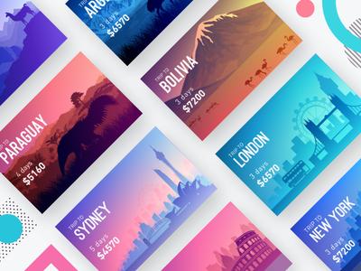 Trips App - Location Cards Exploration 1 ui planner trip travel sydney party mobile london list history hangout color