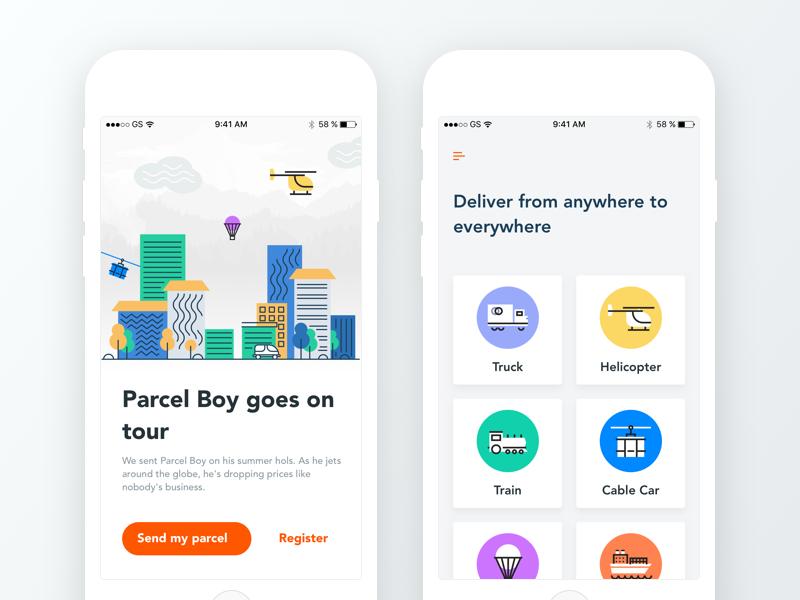 My Parcel Delivery transportation building graphics android ios mobile ux ui logistics tour parcel delivery