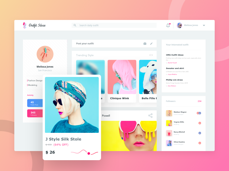 Daily Outfit - Trending Style feed dashboard webpage outfit girls dresses trending ux ui website fashion