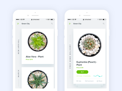 Green City Home and Product Details Screen side menu ux ui task onboarding navigation ios home green flat city app