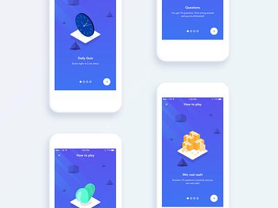 Quiz App - Onboarding play student social isometric design ux ui quiz app