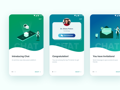 Mobile In-app UI feature launch in-app mobile in-app chat ui chat app chat branding vector illustration medical isometric material clean android design app ios mobile ux ui