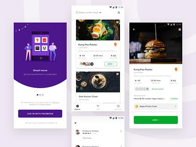 Food App free free app review slider login food app ui card food  drink list ui food app vector illustration android design app ios mobile ux ui