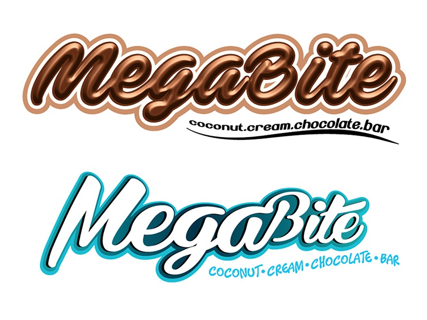 MegaBite Chocolate Trademark Design vector design logo product branding chocolate packaging illustrator logotype trademark trademark icon visual artist illustration chocolate bar