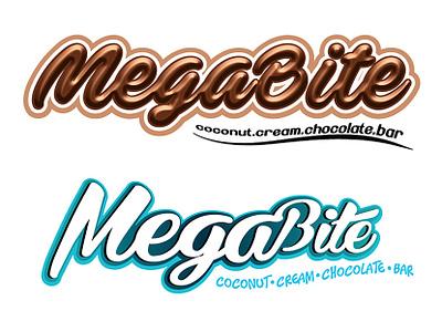 MegaBite Chocolate Trademark Design vector design logo product branding chocolate packaging illustrator logotype trademark trademark icon visual artist illustration chocolate bar