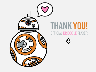 Thank You: Official Dribbble Player 🏀 thank you thick lines aaron draplin illustration