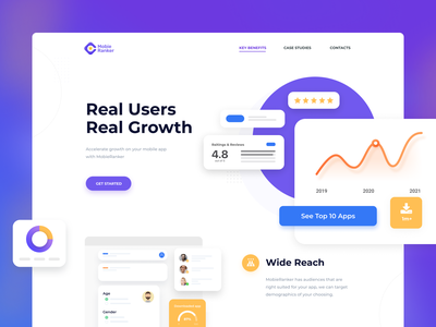 Landing Page for application promotion service user interface userinterface ui design uidesign uiux charts service services landing page design landing page mobile ui mobile app design mobile app illustration mobile design mobile web ui ux design
