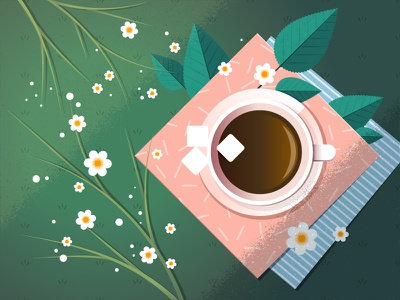 coffee break illustration vector illustraion sugar cubes afternoon relaxing flowers leaves grass meadow cup coffee expresso
