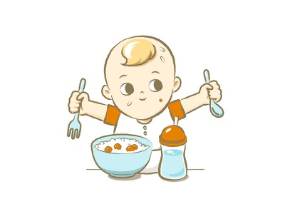 mischievous monster is eating series baby illustration character design