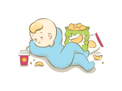 Junk food baby food illustration baby character design illustration vector