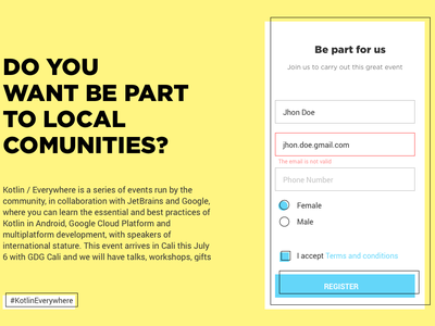 Kotlin Everywhere event, Volunteer Sign Up design web ui form yellow kotlin signup