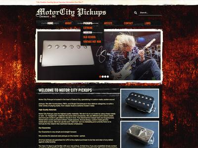 MCP Layout website layout comp mockup dark grunge textures music guitar detroit pickups