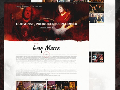 Homepage Layout single page guitar music red texture type ui layout homepage