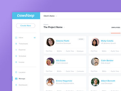 Employees manage productivity cards employees filter project clean white ui