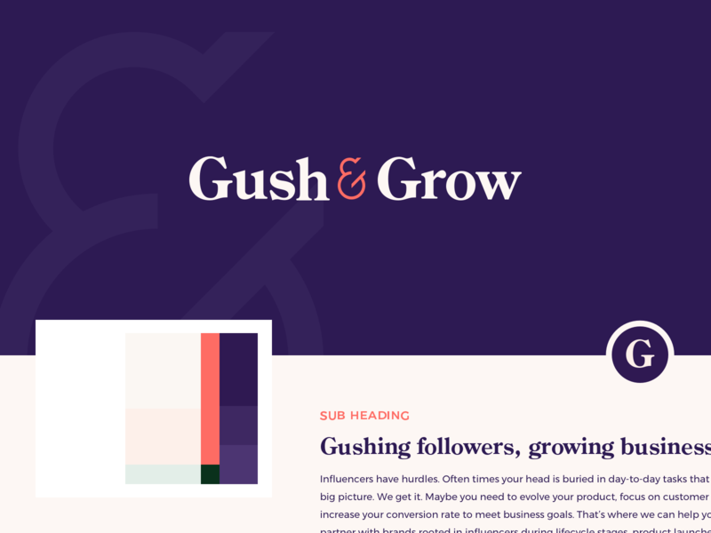 Gush & Grow - Branding brand board moodboard feminine bold millenials logo consultancy marketing influencer branding design branding