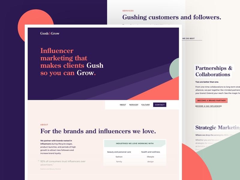 Gush & Grow - Homepage minimal millenial flat consultancy consultant marketing influencer hero homepage web design
