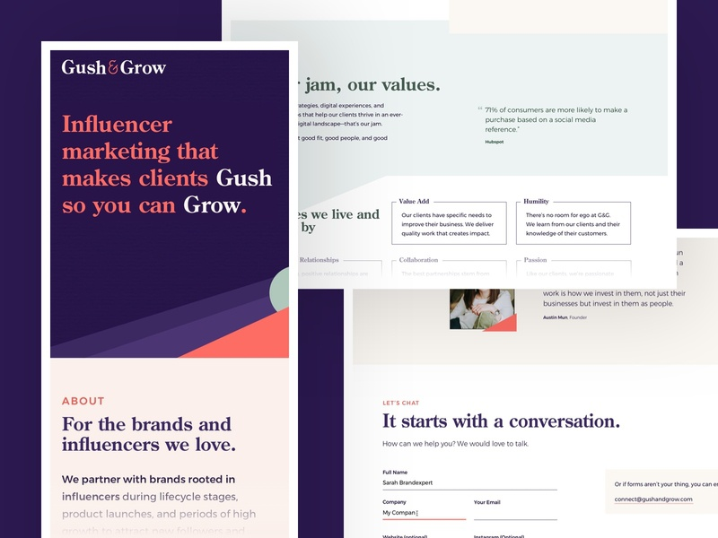 Gush & Grow – Website Details web typography small business colorful minimal marketing components layout homepage web design influencers