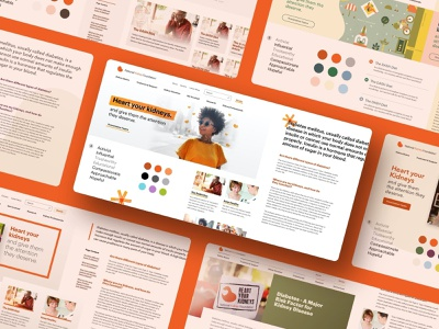 National Kidney Foundation - Element Collages digital brand bright colorful medical concept web design style tiles moodboard element collages