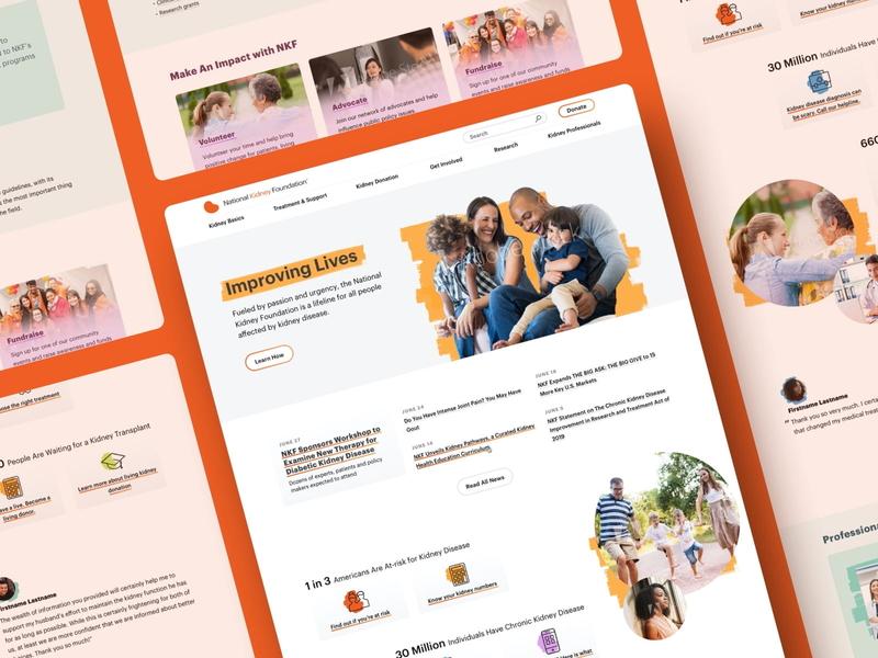 National Kidney Foundation - Homepage Design non-profit web design energetic bright medical redesign homepage website