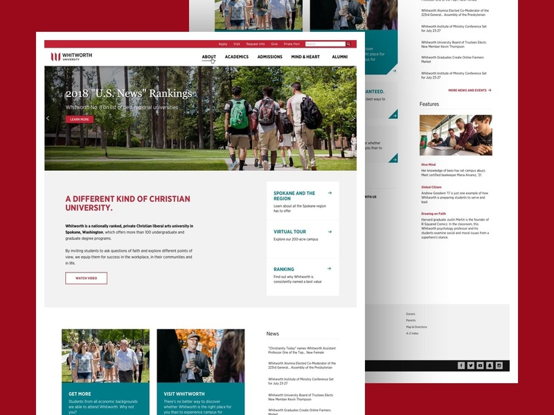 Whitworth University - Homepage Redesign redesign link academic university web design homepage