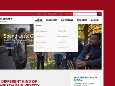 Whitworth University - Navigation Animation web design css dropdown header smooth navigation school university animation