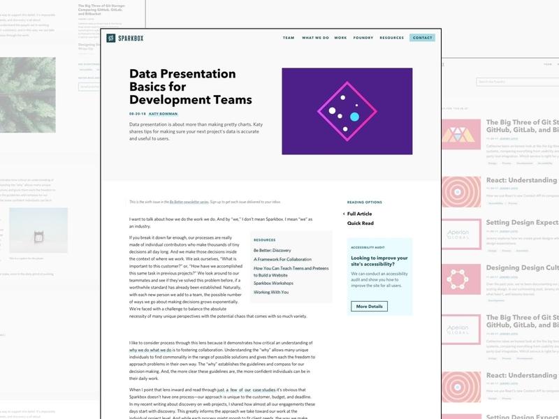 Sparkbox - Foundry Article Refresh hero ui minimal agency web design article blog