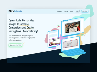 PicSnippets - Animated Homepage isometric web design hero startup marketing site after effects lottie animation homepage