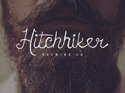Hitchhiker Brewing Co office fun hipster trendy beard typography script beer brewing company hitchhiker playoff grunge