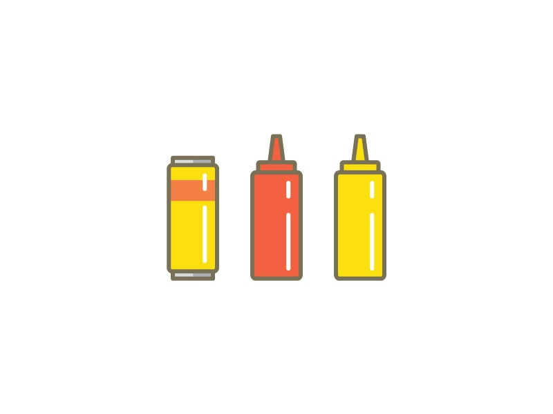 Beer Ketchup & Mustard can icons burger condiments brand ketchup mustard beer tall boy