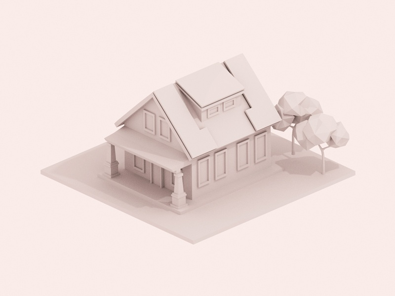 3D House WIP solar panels house trees low poly 3d test render