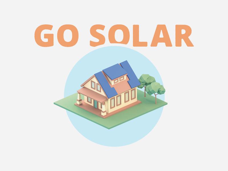 Go Solar low poly house solar panel trees
