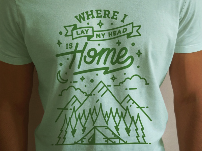Ink & Ales: Camping Tee illustration wilderness banner typography script camping forrest trees clouds stars mountain tent