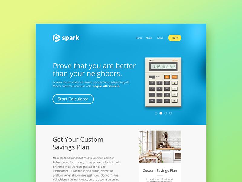 Calculator Tool Landing Page modern retro illustration minimal clean ui website