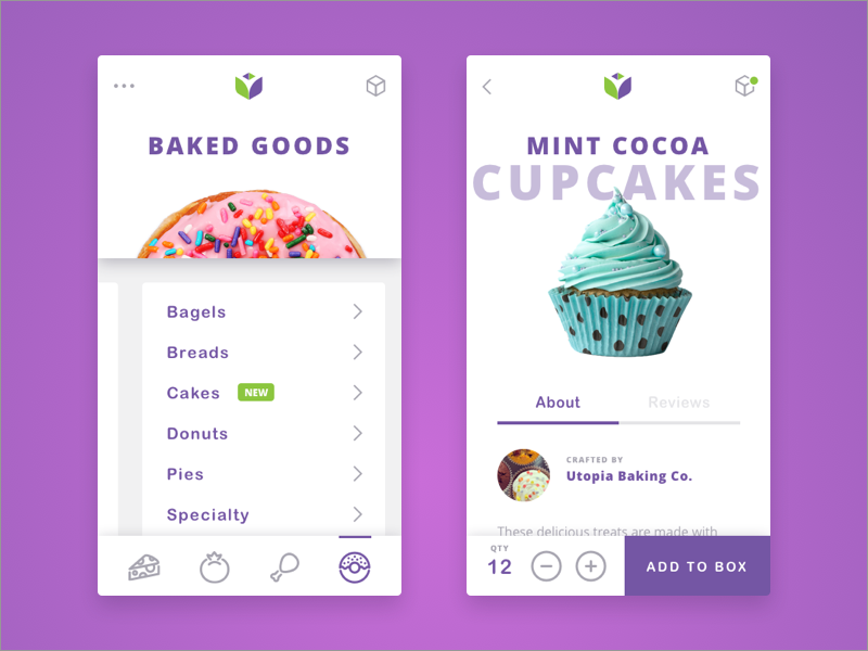 App Screens logo design cart slider bakery mobile ux ui design app food