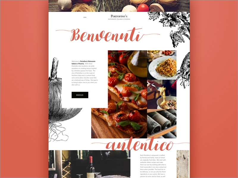 Portofinos Redesign illustration design web restaurant italian