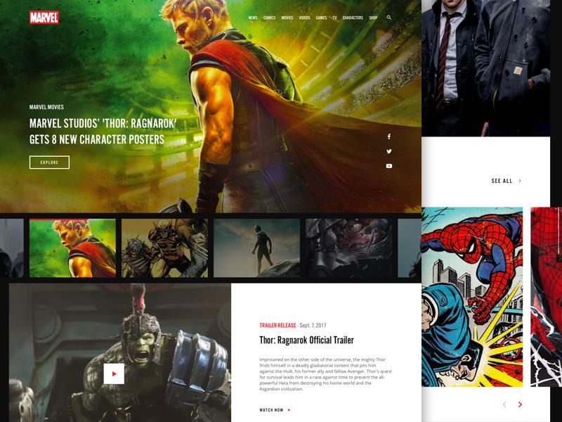 Marvel Landing Page website hulk marvel studios ragnarok thor spiderman spider-man marvel
