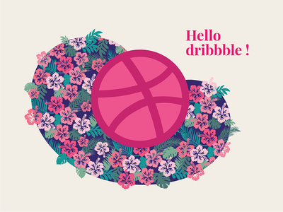 Hello dribbble! hello leaves flowers love dribbble first shot patterns surface pattern design vector design illustration