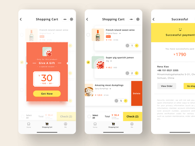 Shopping page food shopping cart shopping wechat interface design app