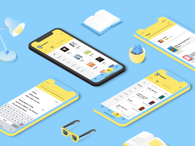 Inread | Category & Search page | Reading app reading read book grid list ranking search category flat ui design interface app