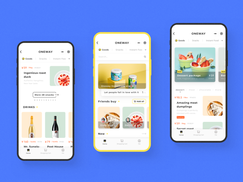 Food shopping wechat mini program mini program wechat interaction wine snack food homepage mobie ui interface app design