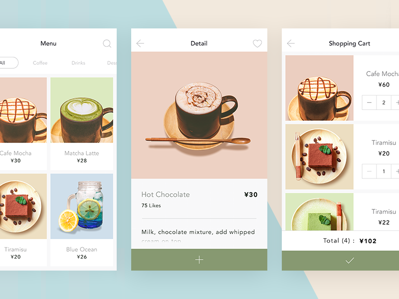 Light cafe | coffee app cafe take away coffee detail cart menu shopping ui ios interface design app