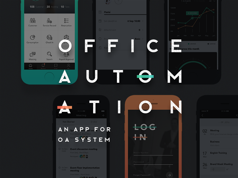 OA & CRM App Design for Cago  system automation office oa ios ui interface gradient design app