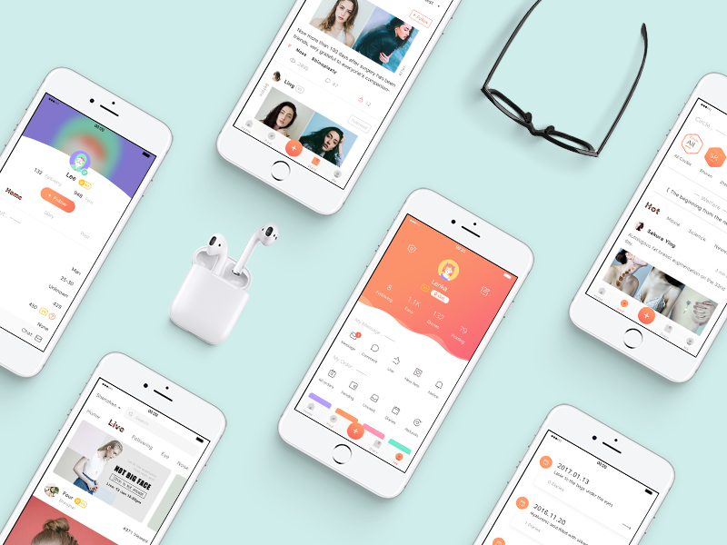 Beauty App  after before diary profile orange interface beauty micro plastic design app