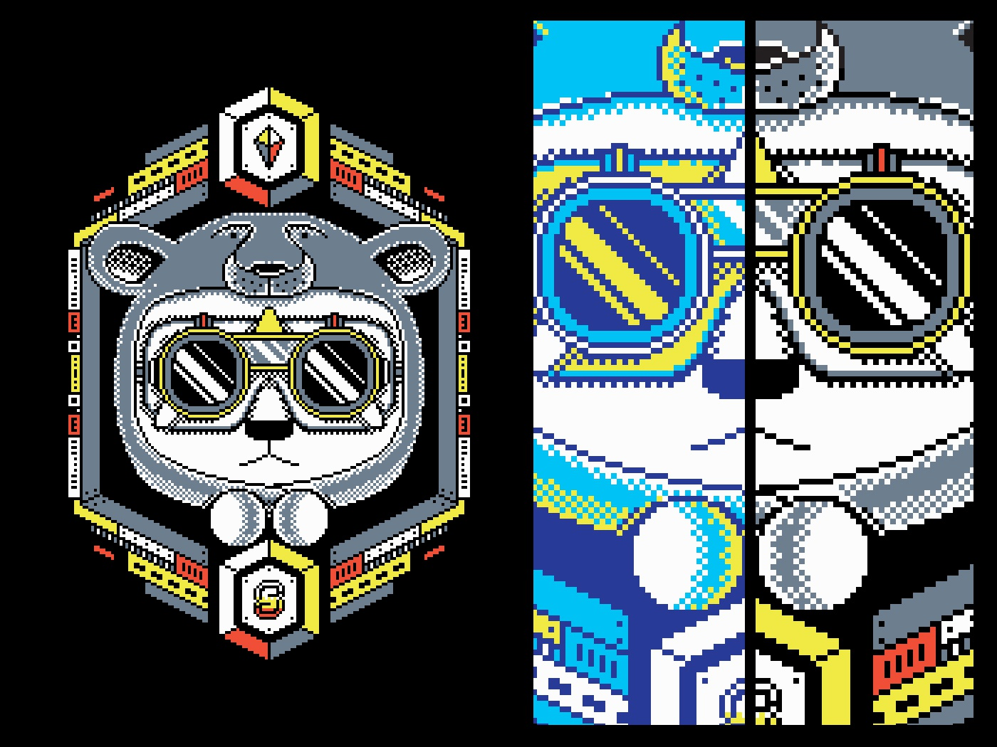 Polarized retro game hexagonal debutshot debut 8bit googles panda bear isometric illustration pixel art